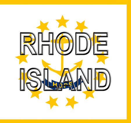 Illustration of the flag of Rhode Island state in America with the state written on the flag.