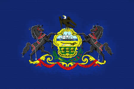 Illustration of the flag of Pennsylvania state in America looking like it is painted on a wall. Stock Photo