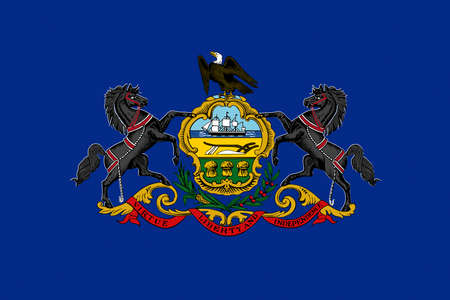 Illustration of the flag of Pennsylvania state in America