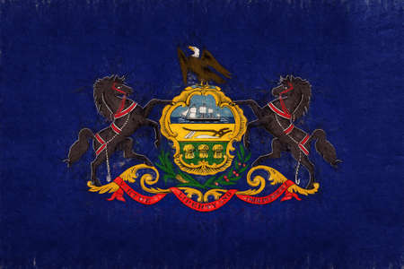 Illustration of the flag of Pennsylvania state in America with a grunge look.