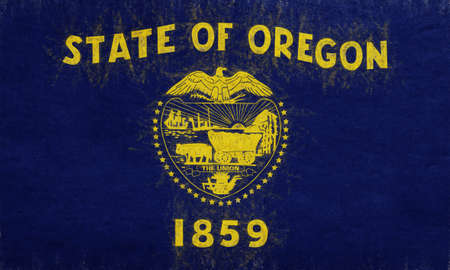 Illustration of the flag of Oregon state in America with a grunge look.