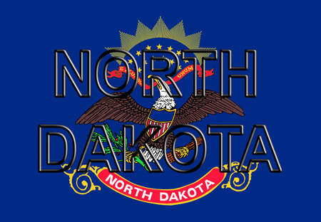 Illustration of the flag of North Dakota state in America with the state written on the flag.
