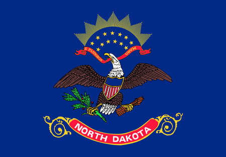 Illustration of the flag of North Dakota state in America