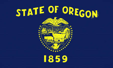 Illustration of the flag of Oregon state in America looking like it is painted on a wall.