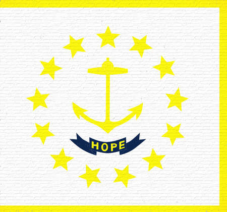 Illustration of the flag of Rhode Island state in America looking like it is painted on a wall. Stock Photo