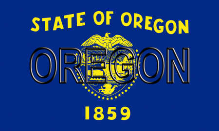Illustration of the flag of Oregon state in America with the state written on the flag. Stok Fotoğraf
