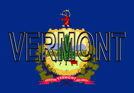Illustration of the flag of Vermont state in America  with the state written on the flag.