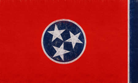 Illustration of the flag of Tennessee state in America with a grunge look. Stock Photo