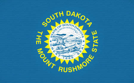 Illustration of the flag of South Dakota state in America looking like it is painted on a wall.