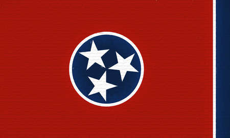 Illustration of the flag of Tennessee state in America looking like it is painted on a wall.