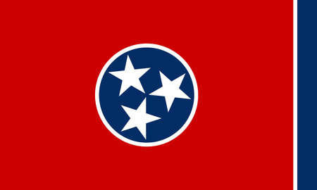 Illustration of the flag of Tennessee state in America
