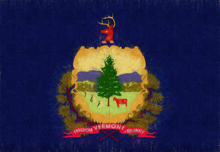 Illustration of the flag of Vermont state in America with a grunge look. Stok Fotoğraf