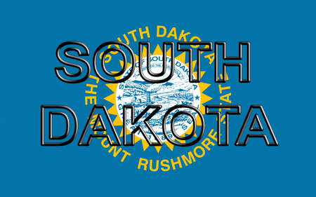 Illustration of the flag of South Dakota state in America with the state written on the flag.