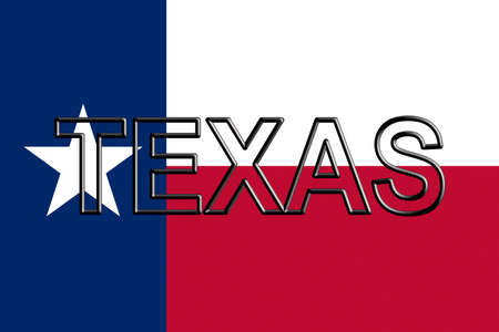 Illustration of the flag of Texas state in America  with the state written on the flag. Stok Fotoğraf