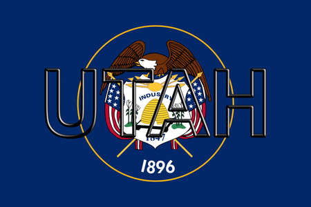 Illustration of the flag of Utah state in America  with the state written on the flag.