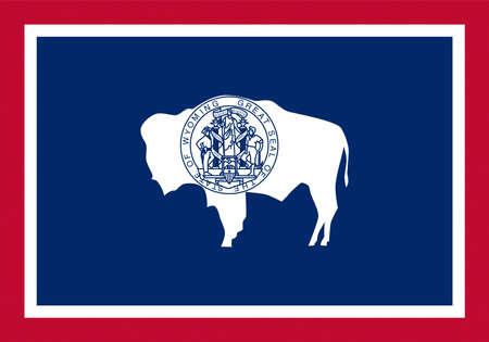 미국에서 와이오밍 상태의 국기의 그림