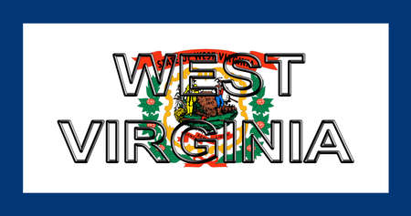 Illustration of the flag of West Virginia state in America  with the state written on the flag.