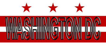 Illustration of the flag of Washington DC in America  with the state written on the flag. Stok Fotoğraf