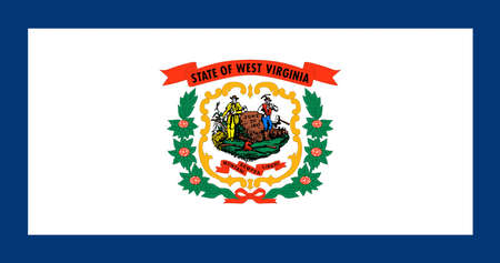 Illustration of the flag of West Virginia state in America