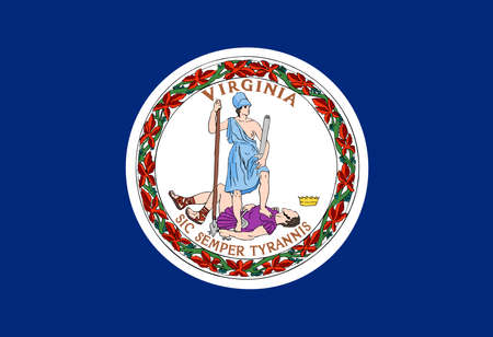 Illustration of the flag of Virginia state in America
