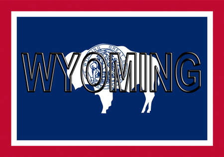 Illustration of the flag of Wyoming state in America  with the state written on the flag. Archivio Fotografico