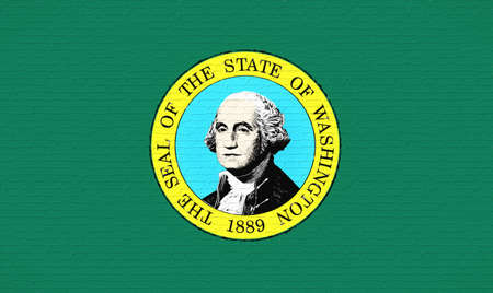 Illustration of the flag of Washington state in America looking like it is painted on a wall.