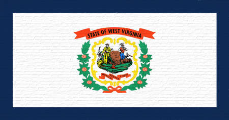 Illustration of the flag of West Virginia state in America looking like it is painted on a wall. Stok Fotoğraf