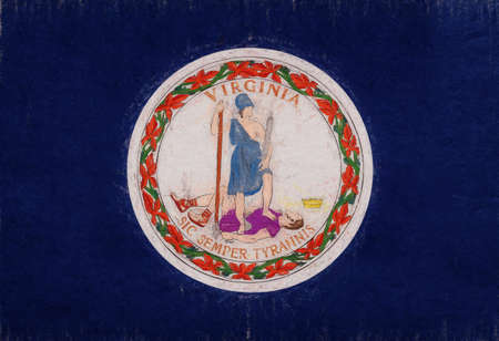 Illustration of the flag of Virginia state in America with a grunge look.