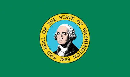 Illustration of the flag of Washington state in America Stok Fotoğraf
