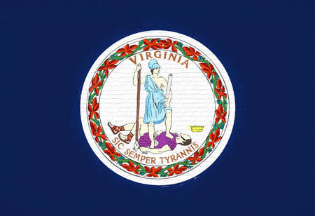 virginia: Illustration of the flag of Virginia state in America looking like it is painted on a wall.