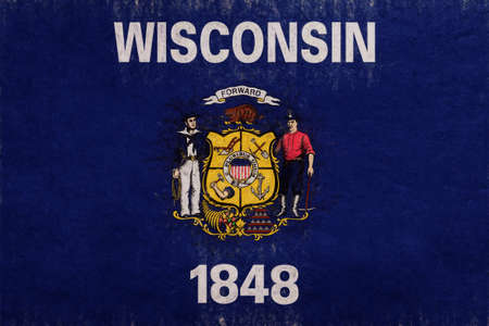 Illustration of the flag of Wisconsin state in America with a grunge look.