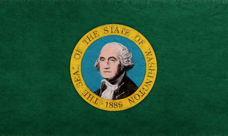 Illustration of the flag of Washington state in America with a grunge look. Stock Photo
