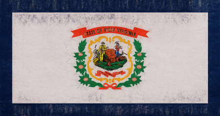 Illustration of the flag of West Virginia state in America with a grunge look.