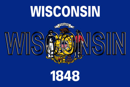 wisconsin: Illustration of the flag of Wisconsin state in America  with the state written on the flag.