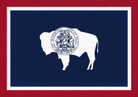 Illustration of the flag of Wyoming state in America looking like it is painted on a wall.