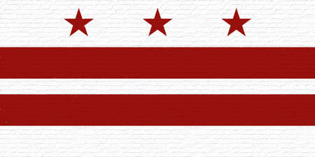 Illustration of the flag of Washington DC in America looking like it is painted on a wall. Stok Fotoğraf