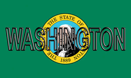 Illustration of the flag of Washington state in America  with the state written on the flag.
