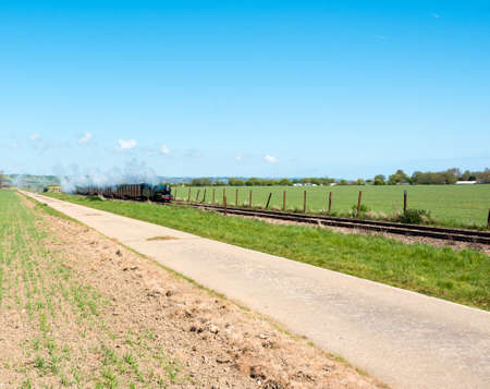 narrow gauge railroad: Small steam train approaching with smoke and steam from funnel Stock Photo