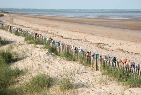 Fence by the sea is coverd with gloves that have been left on the beach in the town of Greatness,Kent,UK.
