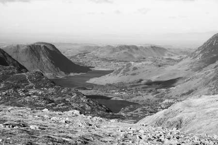 Black and White view of  Crummock Water and Buttermere  from a high fell in the Lake District National Park in the County of Cumbria,North West England,UK.
