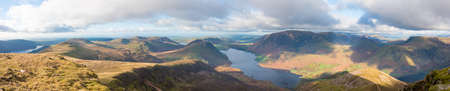 Panorama showing Buttermere and Crummock Water  in the Lake District National Park in the County of Cumbria,North West England,UK.