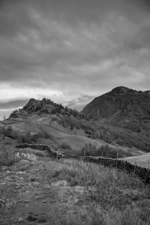 Black and White image of Castle Crag and Raven Crag Castle Crag and raven Crag are located in the North Western Fells of the English Lake District National Park in Cumbria,UK.