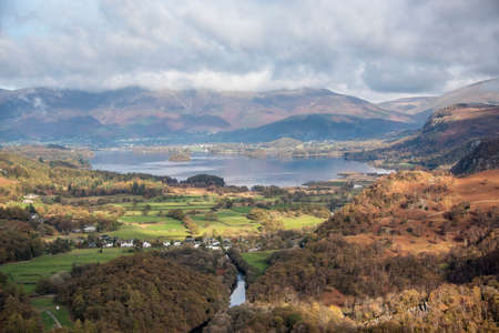 View of Derwent Water by Roy Pedersen. www.RoyPedersenPhotography.com     View of Derwent Water from Castle Crag in the lake District,Cumbria,UK. Derwent Water is one of the main bodies of water in the Lake District National Park in north west England. Stok Fotoğraf - 121898102