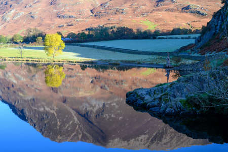 View of the lake side of Crummock water on a calm morning in the lake District,Cumbria,UK