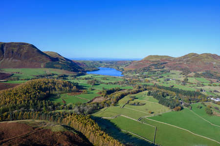 View of Loweswater and countryside from the top of Mellbreak fell in the lake District,Cumbria,UK