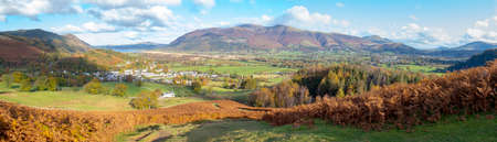 A panoramic view towards Braithwaite village from Barrow Fell in the Lake District,Cumbria,UK.