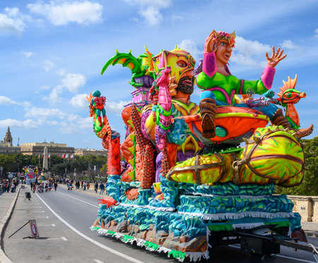 Valletta,Malta - February 23 2020 : Carnival floats on the parade through the city streets of Valletta.
