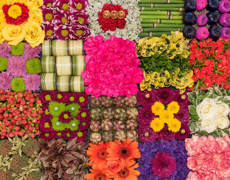 Flowers ,plants and leaves have been arranged to form a colourful collage. Banco de Imagens
