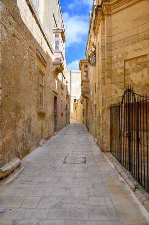 Traffic free street in the ancient Maltese city of Mdina on the island of Malta Stock fotó
