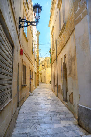 This Ancient street is in the Maltese city of Mdina on the island of Malta. Stok Fotoğraf